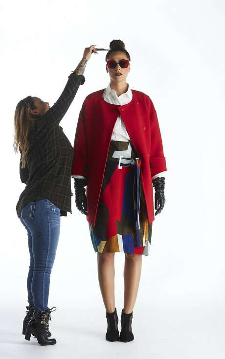 Bold is beautiful, where tall women are concerned — they can carry off bigger patterns and colorblocking in ways that shorter women can't (their petite frames are often overwhelmed by large patterns.) Alicia Jay models an ensemble pulled together with separates from Marni — a skirt, $1,960, shirt, $990, coat, $2,690, and sunglasses, $595, available at the boutique at 77 Maiden Lane, S.F. Shoes are the model's own. Cosmetic touchup by makeup artist Nicole Notarte. Photography: Russell Yip Styling: Mary Gonsalves Kinney Hair & Makeup: Nicole Notarte Model: Alicia Jay Styling assistant: Elise Filter Von Arx Photo: Russell Yip, The Chronicle