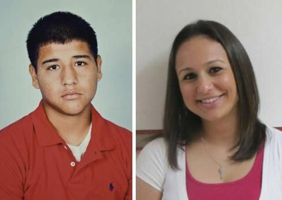 Bruni High School student Oscar Ernesto Ramos, 16, and his former teacher, Fallon Wied Cremar, are shown in this side-by-side image. Cremar is accused of having an inappropriate relationship with Ramos, who died by suicide a day after he was allegedly found hugging Cremar. (Staff composite)