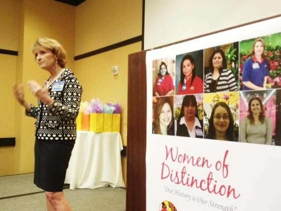 Suzanne Wade, H-E-B President of San Antonio Food and Drug department, spoke to HEB employees who were recognized at the HEB Women of Distinction event Thursday morning at Embassy Suites. (Photo by: Ulysses S. Romero