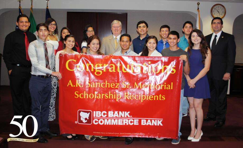 This year, IBC Bank-Laredo and Commerce Bank presented a total of 34 A.R. Sanchez Sr. Memorial Scholarship Awards, each valued at $1,000 to students throughout the area.