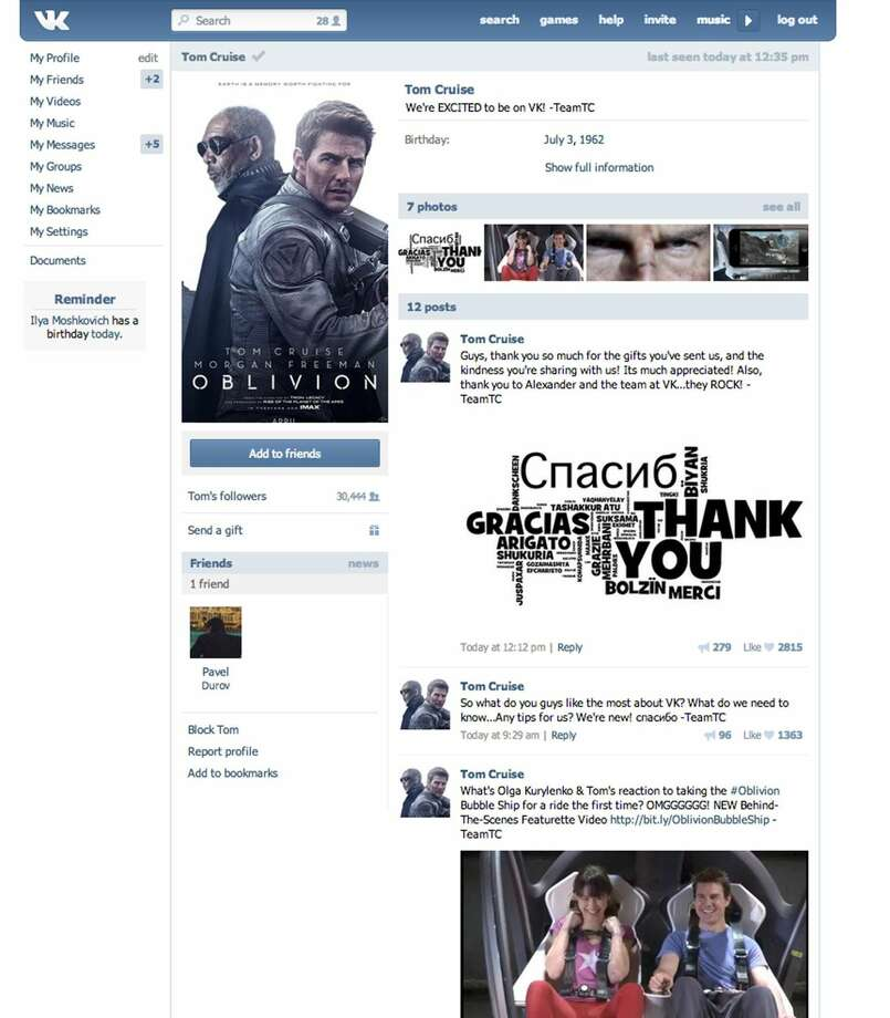 "This screen shot provided by the Russian social network Vkontakte shows a page set up by Hollywood star Tom Cruise. Tom Cruise has become the first Hollywood star to set up a page on the Russian social network Vkontakte. The ""Top Gun"" actor's page appeared Friday, announced by a message on Twitter saying ""See you there!"" in Russian. His profile picture is a poster for his new film ""Oblivion,"" which comes out in Russia on April 11, two weeks before it opens in the U.S. (AP Photo/Vkontakte)"