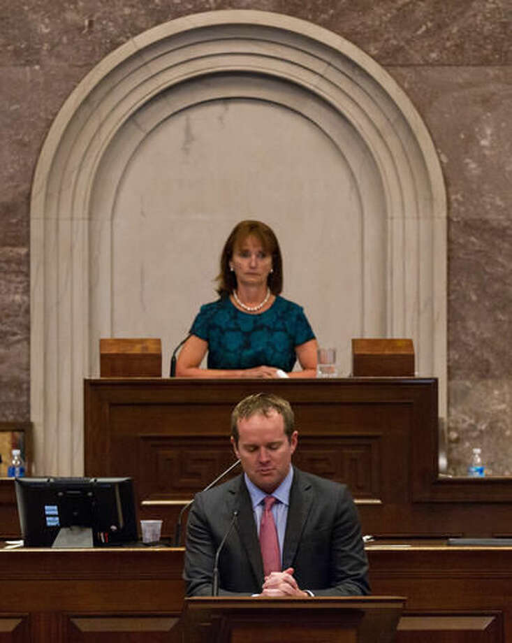 Republican Rep. Jeremy Durham, R-Franklin, addresses the House in Nashville, Tenn., on Tuesday, Sept. 13, 2016, from the well of the camber to urge his colleagues not to expel him from the Tennessee General Assembly. The move to expel Durham follows an attorney general's investigation that detailed allegations of improper sexual contact with at least 22 women over the course of his four years in office. House Speaker Beth Harwell, R-Nashville, presides at rear. (AP Photo/Erik Schelzig)