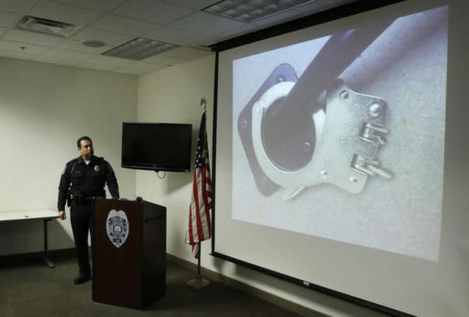 North Las Vegas Police Chief Alex Perez holds a news conference Wednesday, Sept. 7, 2016, in North Las Vegas, Nev. Chief Alex Perez spoke about Alonso Perez, a homicide suspect who had been on the loose for more than four days after breaking his handcuffs and escaping police custody. (AP Photo/John Locher)