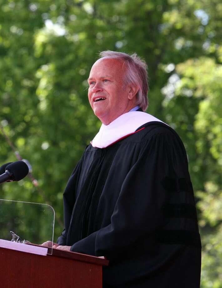 Dick Ebersol gives the commencement address at Sacred Heart University's Commencement ceremony on Sunday. Photo: B.K. Angeletti / Connecticut Post