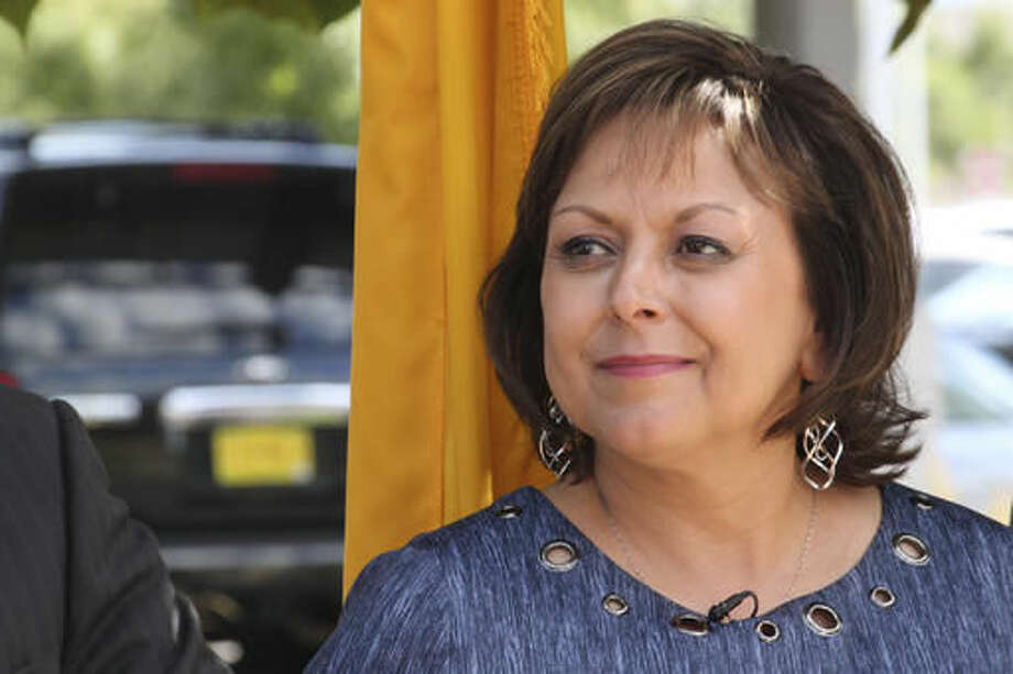 New Mexico Gov. Susana Martinez awaits her turn to speak about Facebook's planned data center during a news conference in Los Lunas, N.M., on Thursday, Sept. 15, 2016. Martinez said New Mexico would not have been on the radar of the social media giant had it not been for a meeting she had with executives in August 2015. (AP Photo/Susan Montoya Bryan)