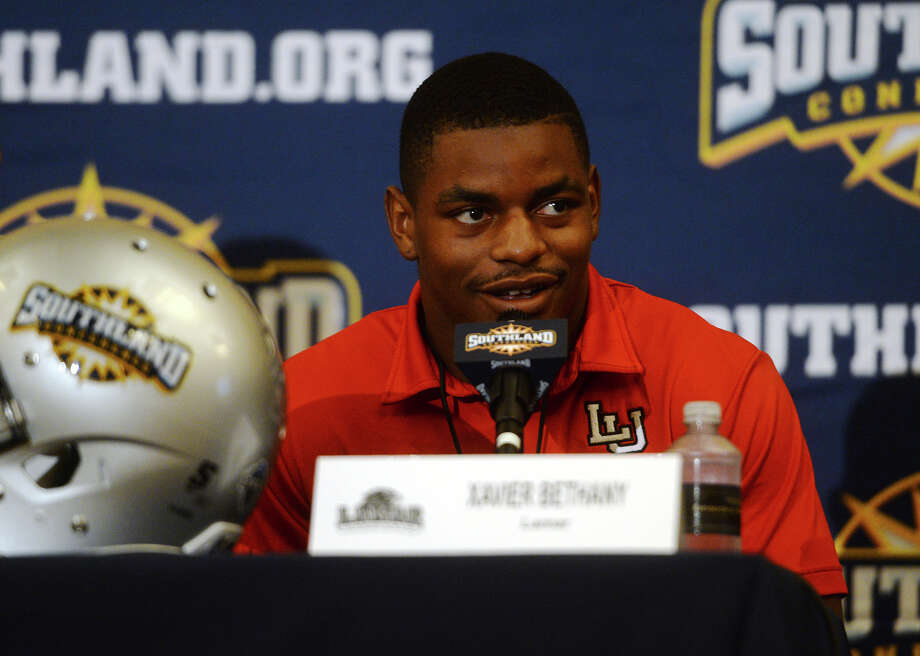The Lamar Cardinals' Xavier Bethany responds to a question from the media about this year's team. The Southland Conference held their annual football media day at the L'Auberge Resort in Lake Charles on Wednesday. Lamar University was represented by Coach Ray Woodard, wide receiver Reggie Begelton, and defensive back Xavier Bethany. Photo taken Wednesday 7/29/15 Jake Daniels/The Enterprise Photo: Jake Daniels / ©2015 The Beaumont Enterprise/Jake Daniels