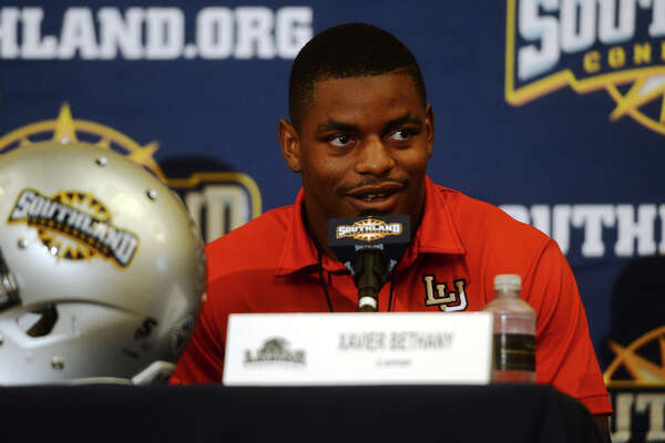 The Lamar Cardinals' Xavier Bethany responds to a question from the media about this year's team. The Southland Conference held their annual football media day at the L'Auberge Resort in Lake Charles on Wednesday. Lamar University was represented by Coach Ray Woodard, wide receiver Reggie Begelton, and defensive back Xavier Bethany. Photo taken Wednesday 7/29/15 Jake Daniels/The Enterprise