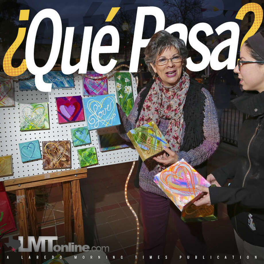 Paty and Julia Orduña showcase some of the artwork available for sale at their booth during the Hecho a Mano Handmade Market at the Laredo Center for the Arts.