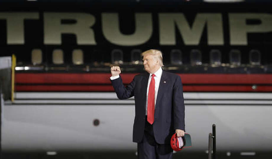 Republican presidential candidate Donald Trump arrives at a rally Tuesday, Sept. 27, 2016, in Melbourne, Fla. (AP Photo/John Locher)