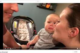 A video of a baby crying every time her parents kiss has gone viral on Facebook.