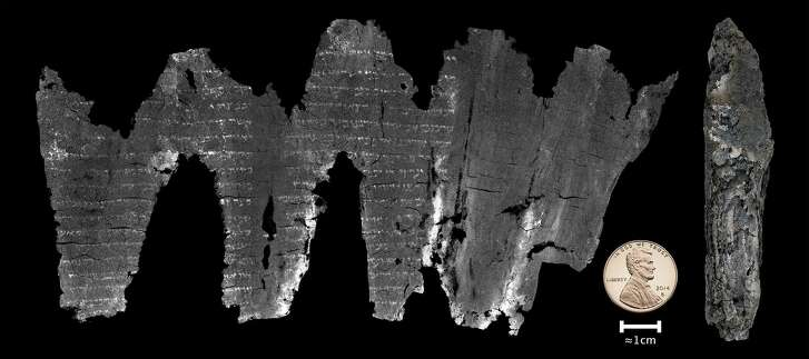 A composite image of the completed virtual unwrapping of the En-Gedi scroll.