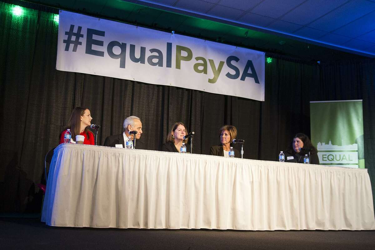 A panel at The City of San Antonio Mayor's Commission on the Status of Women, Saturday, Oct. 22, 2016, to discuss strategies to ensure equal pay and equal opportunity for women in the workplace. The panel included from left to right, attorney Blakely Fernandez, former Congressman Charles Gonzalez, Judge Laura Parker, and City Manager Sheryl Sculley and was moderated by Naomi Miller.
