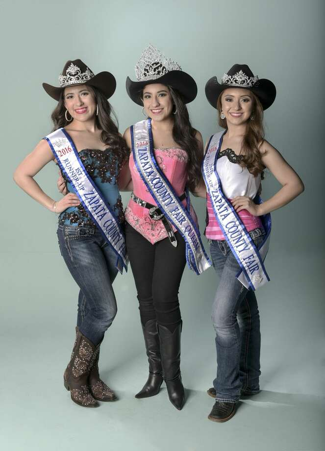 The Zapata County Queen and her court pose for a photo on Thursday afternoon at the Laredo Morning Times offices.