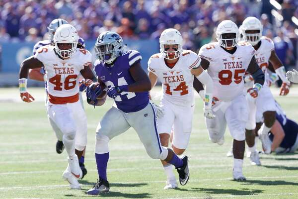 Kansas State running back Charles Jones (24) sprints downfield on a long run against Texas at Snyder Family Stadium in Manhattan, Kan., on Saturday, Oct. 22, 2016. Kansas State won, 24-21.