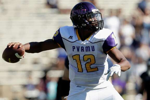 Prairie View A&M Panthers quarterback Jalen Morton (12) drops to pass in the second quarter during the NCAA football game between the Prairie View A&M Panthers and the Rice Owls at Rice Stadium in Houston, TX on Saturday, October 22, 2016.   The Owls lead the Panthers 45-14 at halftime.
