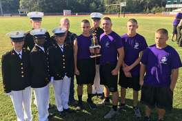 Cadets with the Dayton High School Marine Corps JRTOC competed in a drill meet on Oct. 15 in Ponchatoula, La. The Male Color Guard, Unarmed Drill Inspection and Armed Drill Inspection all place second in their categories. Pictured left to right are (front row) Cadet PFC Ana Cruz-Beltrami, Cadet PFC Kristie Sterling, Cadet PFC Haley Jordan, Cadet Gy. Sgt. Jackson Welder, Cadet 2nd Lt. Seth Robinson, Cadet 2ndLt Blain Gregory, and Cadet 1st Lt. John Mahaffey; (back row) Cadet Lance Cpl. Alexander Kerley, Cadet PFC Dustin Pfitzner and Cadet PFC Isaac Palmer.