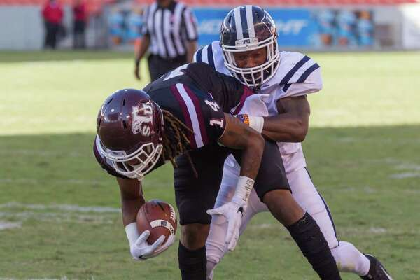 October 22 2016:  Texas Southern Tigers wide receiver  Tracy Johnson Jr. (14) gets tackled during the game between Jackson State Tigers and Texas Southern Tigers, ion Houston, Texas.  (Leslie Plaza Johnson/Freelance)
