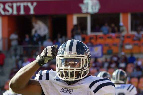 October 22 2016:  Jackson State Tigers defensive end Javancy Jones (29) celebrates a quarterback sack during the NCAA football game between the Jackson State Tigers and Texas Southern Tigers, Texas.  (Leslie Plaza Johnson/Freelance)