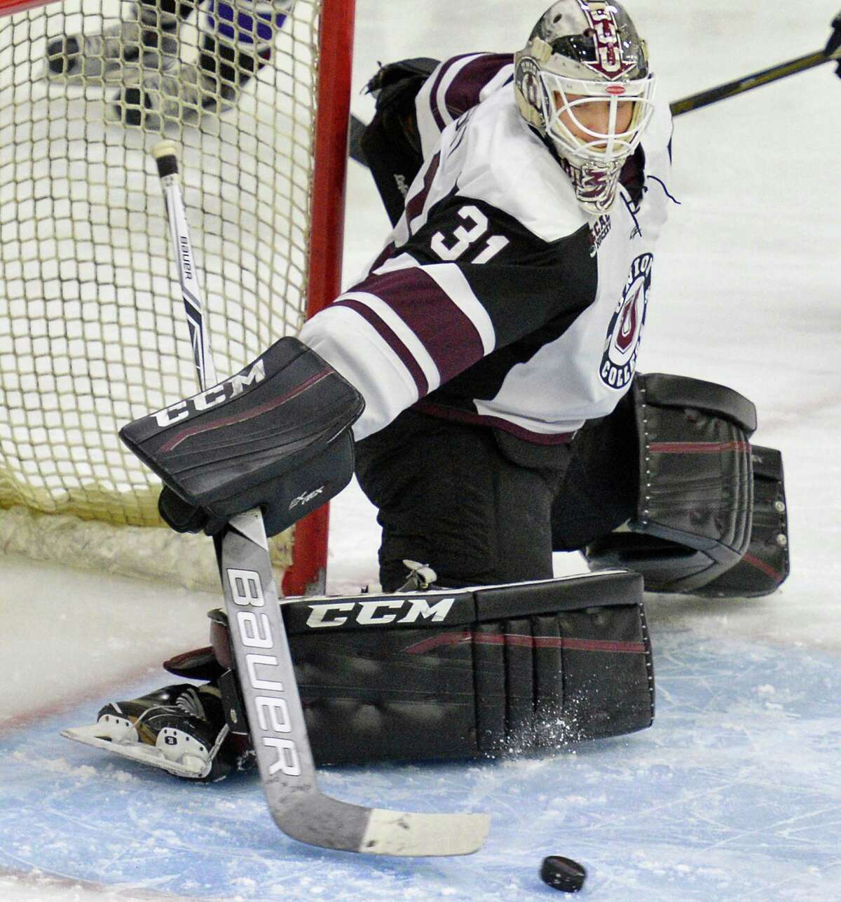 Union goalie #31 Jake Kupsky blocks a shot during Saturday's game against Niagara at Messa Rink Oct. 22, 2016 in Schenectady, NY. (John Carl D'Annibale / Times Union)