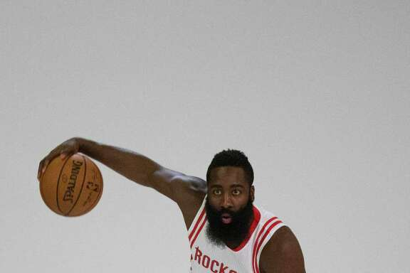 Houston Rockets James Harden poses for a photo shoot during Rockets Media Day at Toyota Center, Friday, Sept. 23, 2016, in Houston. ( Marie D. De Jesus / Houston Chronicle )