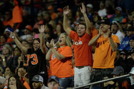 UTPB fans cheer after a touchdown against Oklahoma Panhandle State on Saturday, Oct. 22, 2016, at Grande Communications Stadium. James Durbin/Reporter-Telegram