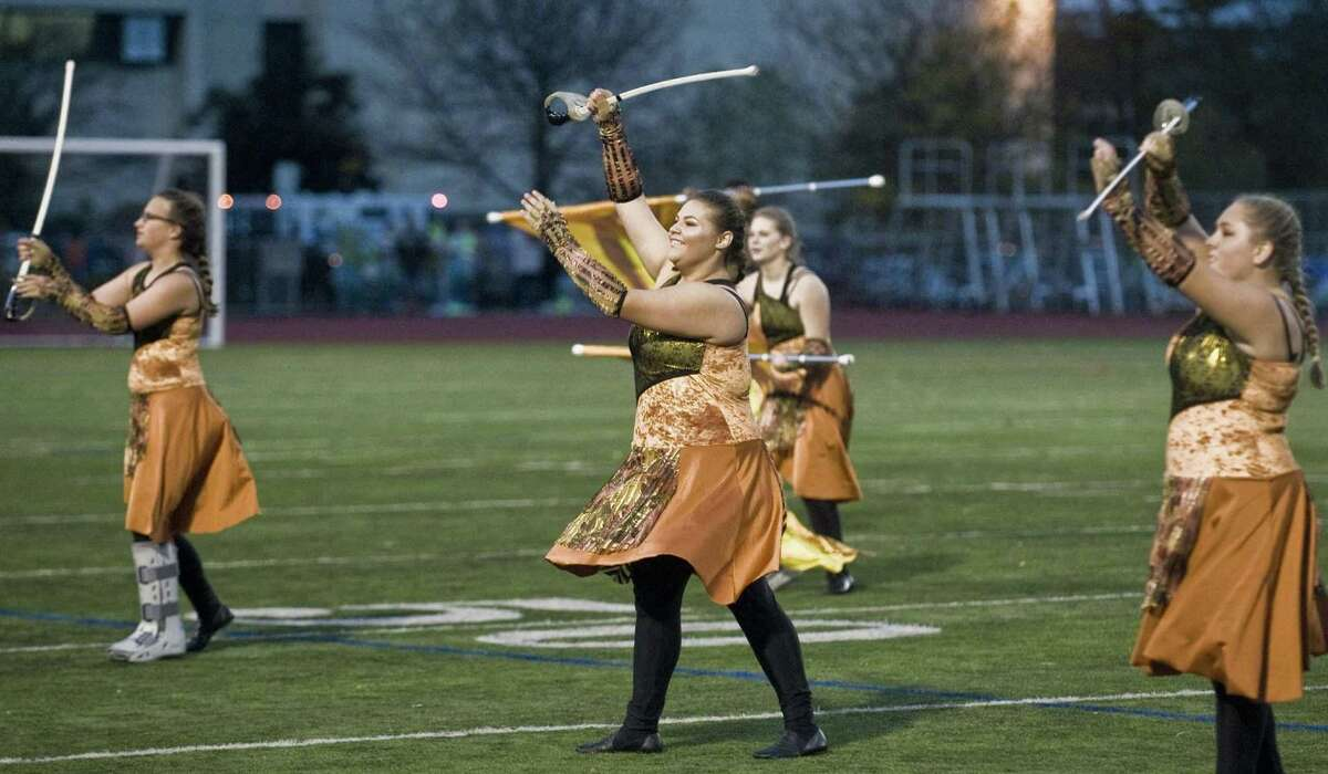 The Shelton High School Marching Band performing in the Musical Arts Conference Championships at Norwalk High School. Saturday, Oct. 22, 2016