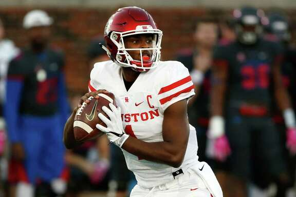 Houston quarterback Greg Ward Jr. looks to throw against SMU during the first half of an NCAA college football game, Saturday, Oct. 22, 2016, in Dallas. (AP Photo/Ron Jenkins)