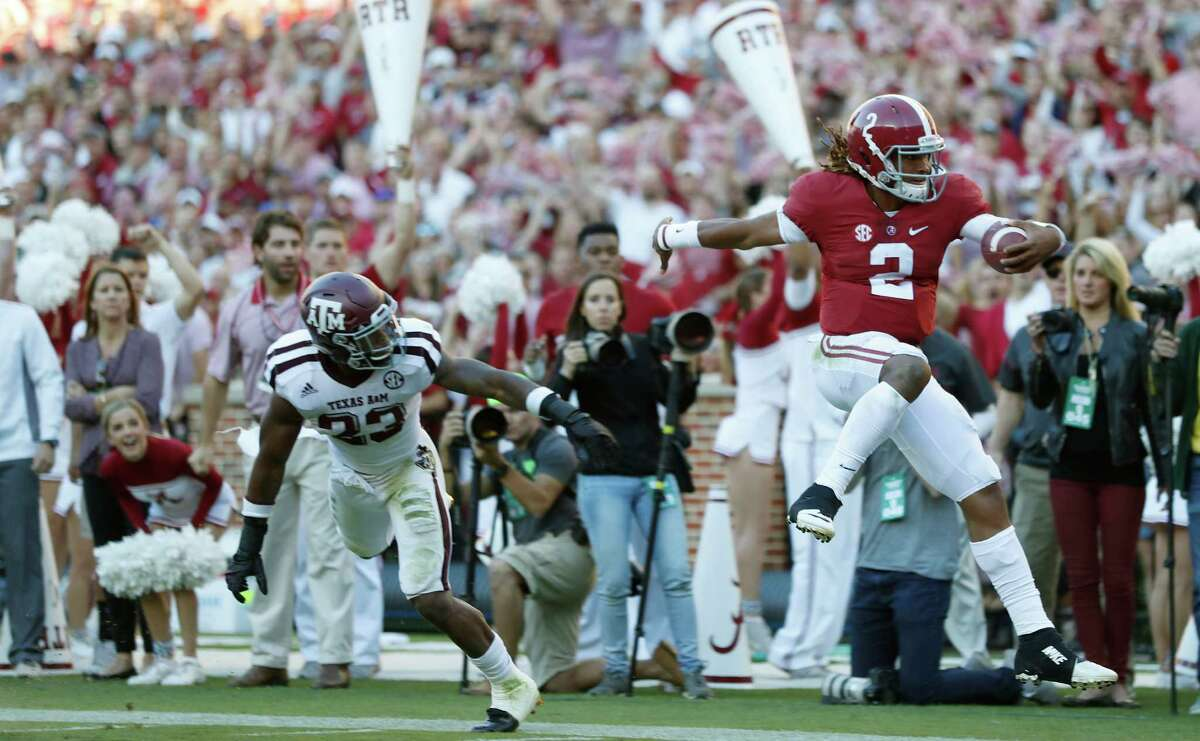 1. ALABAMA (8-0) Remaining schedule Nov. 5: at LSU Nov. 12: vs. Mississippi State Nov. 19: vs. Chattanooga Nov. 26: vs. Auburn Dec. 3: SEC championship game The Crimson Tide already have a win over the Aggies, so it would probably take two losses - or possibly one really embarrassing blowout defeat - for them to fall behind Texas A&M. Alabama will be at least a touchdown favorite over every team they have left on the schedule. A night game at LSU is never easy for the visiting team, and the Aggies could always hope for an Alabama loss to rival Auburn or a loss in the SEC championship game against - most likely - Florida.