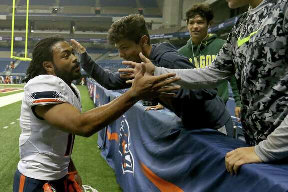 UTEP Miners wide receiver Warren Redix (10) greets fans after the game with the UTSA Roadrunners Saturday Oct. 22, 2016 at the Alamodome. Redix caught the game-winning pass. UTEP defeated UTSA  52-49 in quintuple-overtime.