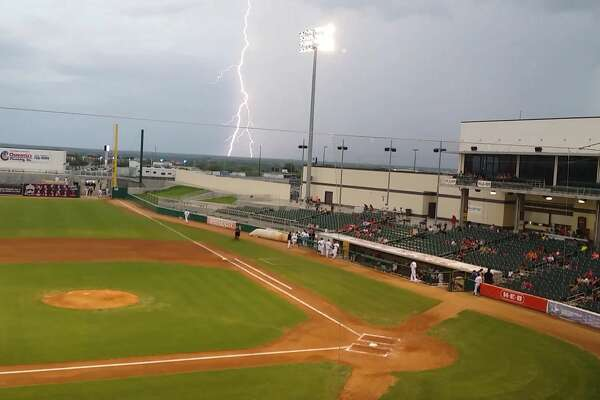 Lightning outside Uni-Trade Stadium resulted in an 80-minute delay as the Lemurs faced Joplin Saturday night.