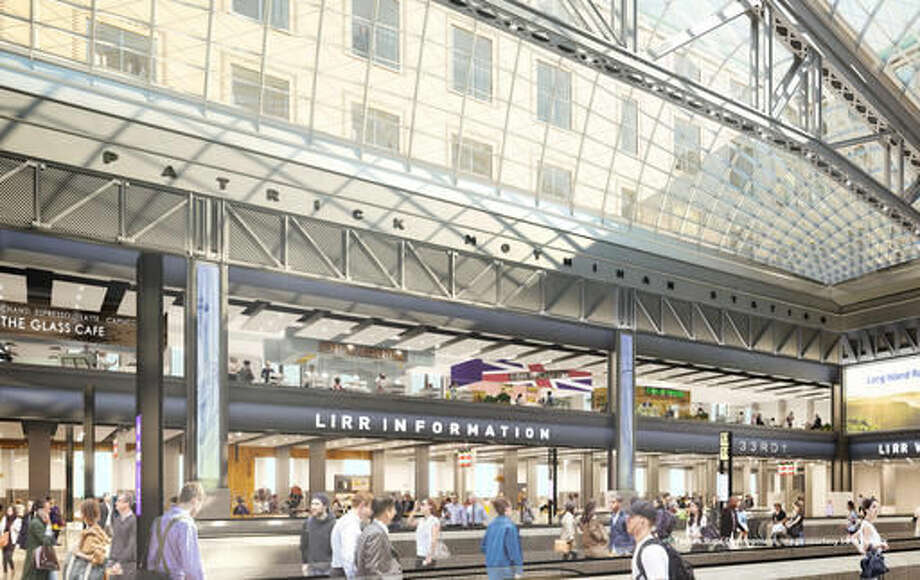 This Sept. 6, 2016 artist's rendering provided by the Office of the Governor of the State of New York shows a concourse level view of the new Daniel Patrick Moynihan Train Hall in New York. Plans to renovate the country's busiest train station call for widening concourses, raising ceiling heights and creating a light-filled new waiting area across the street from the current Pennsylvania Station in the historic James A. Farley Post Office. (SOM via the Office of the Governor of New York via AP)