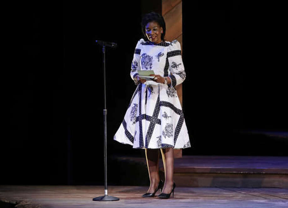 First lady of Malawi Gertrude Hendrina Mutharika speaks at Broadway Shines A Light on Girls' Education, Monday, Sept. 19, 2016, at the Bernard B. Jacobs Theatre in New York. (AP Photo/Frank Franklin II)