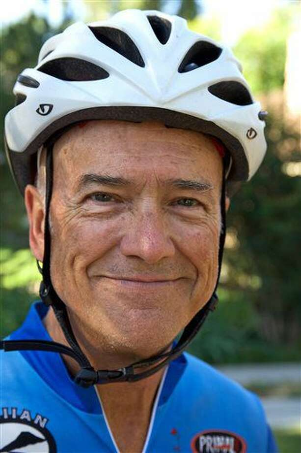 In this Sept. 2, 2016 photo, Don Keipp, 66, a retired professor of music at Weber State University poses in Ogden, Utah. Keipp along with his teammates, ranging in ages from 66-81, has been training to compete in the LoToJa Classic, one of the premier amateur bike races in the country, which is scheduled for Saturday, Sept. 10. (Sarah Welliver/Standard-Examiner via AP)