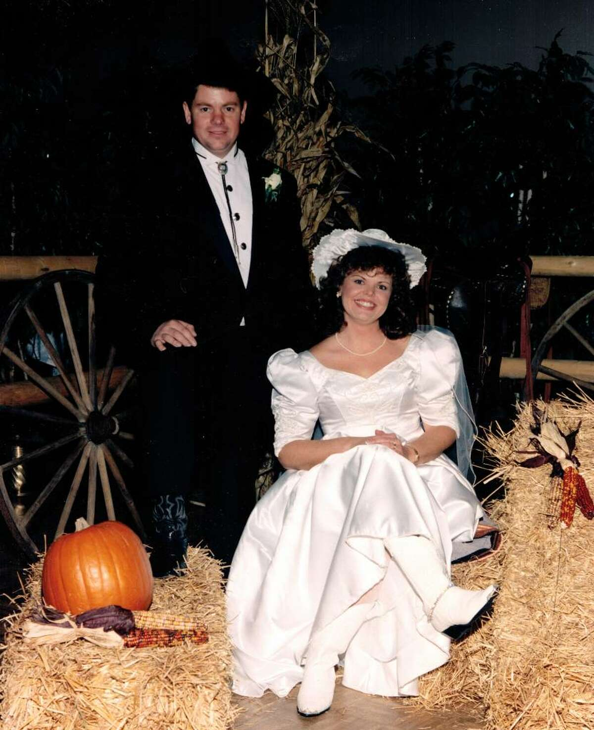 Don Butler and Barb Wicks were married Nov. 11, 1994. Their reception at the Fireside Inn in Newtown included lessons for the guests in line dancing and partner dancing.
