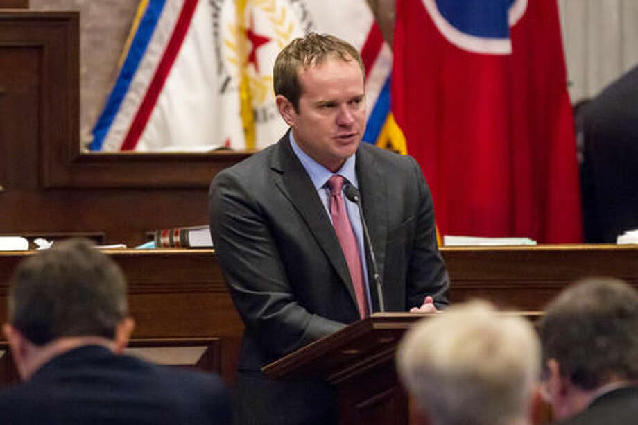 Republican Rep. Jeremy Durham, R-Franklin, addresses the House in Nashville, Tenn., on Tuesday, Sept. 13, 2016, from the well of the camber to urge his colleagues not to expel him from the Tennessee General Assembly. The move to expel Republican state Rep. Jeremy Durham of Franklin follows an attorney general's investigation that detailed allegations of improper sexual contact with at least 22 women over the course of his four years in office. (AP Photo/Erik Schelzig)