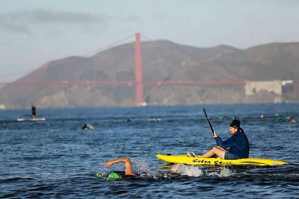 Swimmers, who are guided by kayakers, race in the San Francisco Bay, at the fifth annual Alcatraz Swim for Sight race, in San Francisco, California, on Sunday, Oct. 23, 2016.