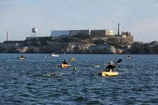 Swimmers race in the San Francisco Bay, at the fifth annual Alcatraz Swim for Sight race, in San Francisco, California, on Sunday, Oct. 23, 2016.