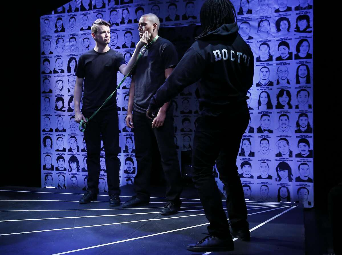From left, Mac Roche, William Bryant Jr. and Skyler Cooper act a one-minute play during the Every 28 Hours performance at PianoFight Oct. 22, 2016 in San Francisco, Calif. The show consists of one-minute plays inspired by the Black Lives Matter movement, using the statistic that alleges every 28 hours a black person is killed by a vigilante, police officer or security guard in the United States.