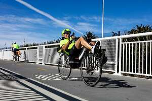 A man biked on the 4.5-mile San Francisco-Oakland Bay Bridge path, which opened a new path today, connecting the Emeryville path with the new endpoint on Yerba Buena Island, in Oakland, California, on Sunday, Oct. 23, 2016.