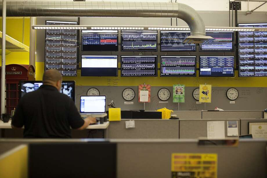 Displays track Internet performance last year at the offices of Dyn in Manchester, N.H. Photo: NATHANIEL BROOKS, NYT