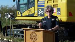 Sheriff Susan Pamerleau discusses the start of construction for the West Substation of the Bexar County Sheriff's Office on Cagnon Lane. The project will be completed in one year.