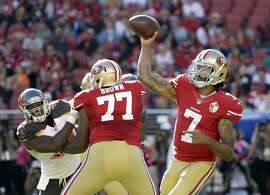 San Francisco 49ers quarterback Colin Kaepernick (7) passes against the Tampa Bay Buccaneers during the second half of an NFL football game in Santa Clara, Calif., Sunday, Oct. 23, 2016. (AP Photo/Marcio Jose Sanchez)
