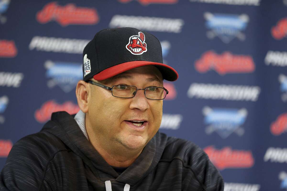 Cleveland Indians manager Terry Francona speaks to the media at a team practice for baseball's upcoming World Series against the Chicago Cubs, Sunday, Oct. 23, 2016, in Cleveland. (AP Photo/Aaron Josefczyk)