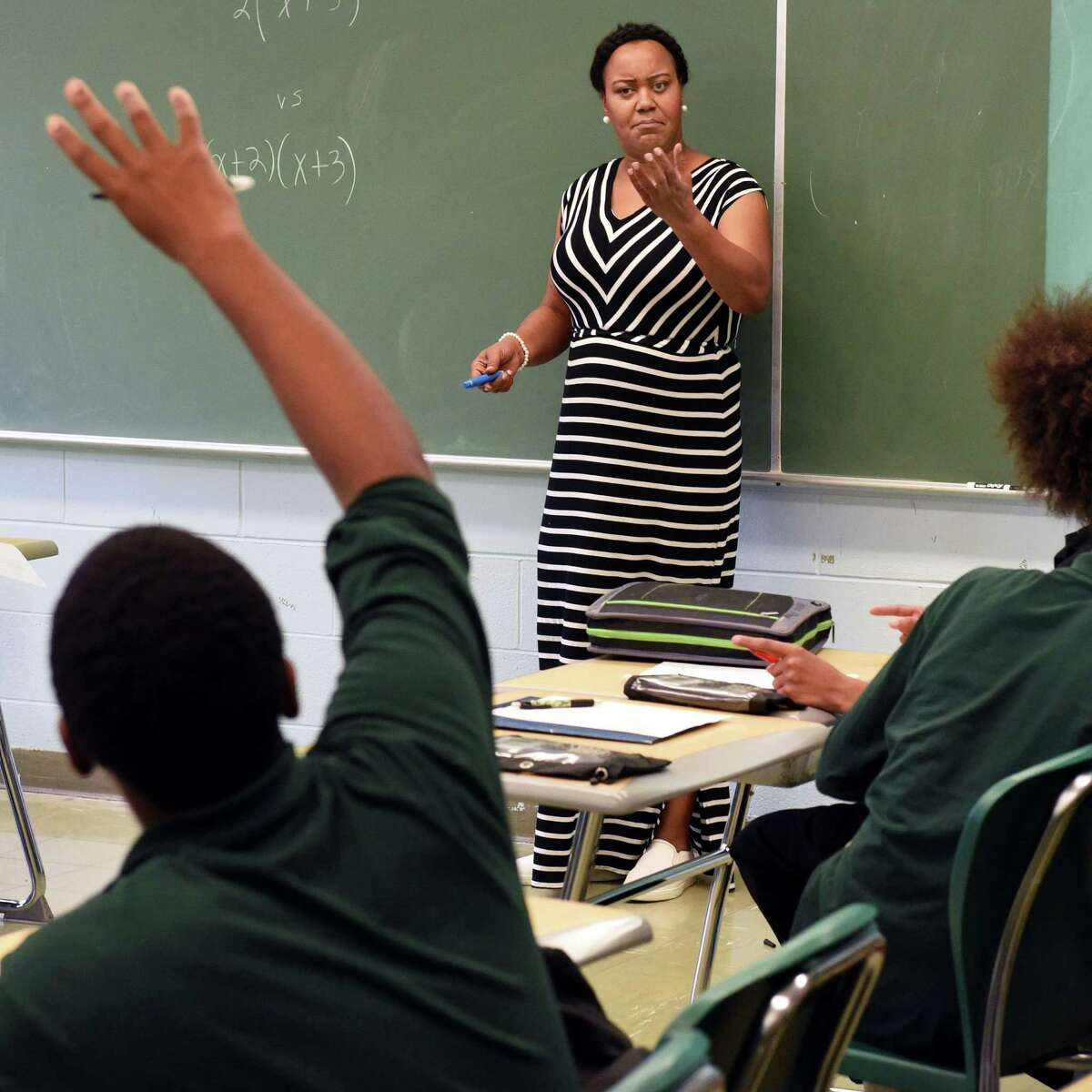 Green Tech High Charter School math teacher Barbara Fiddemon calls on a student during class Thursday Oct. 20, 2016 in Albany, NY. (John Carl D'Annibale / Times Union)