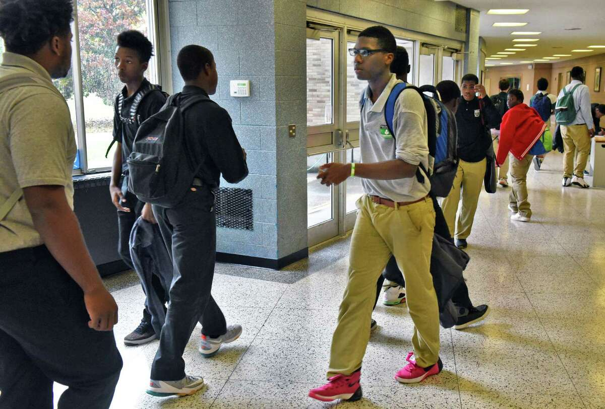 Green Tech High Charter School students in the hall of their new facilities at the former Bishop Maginn High Thursday Oct. 20, 2016 in Albany, NY. (John Carl D'Annibale / Times Union)