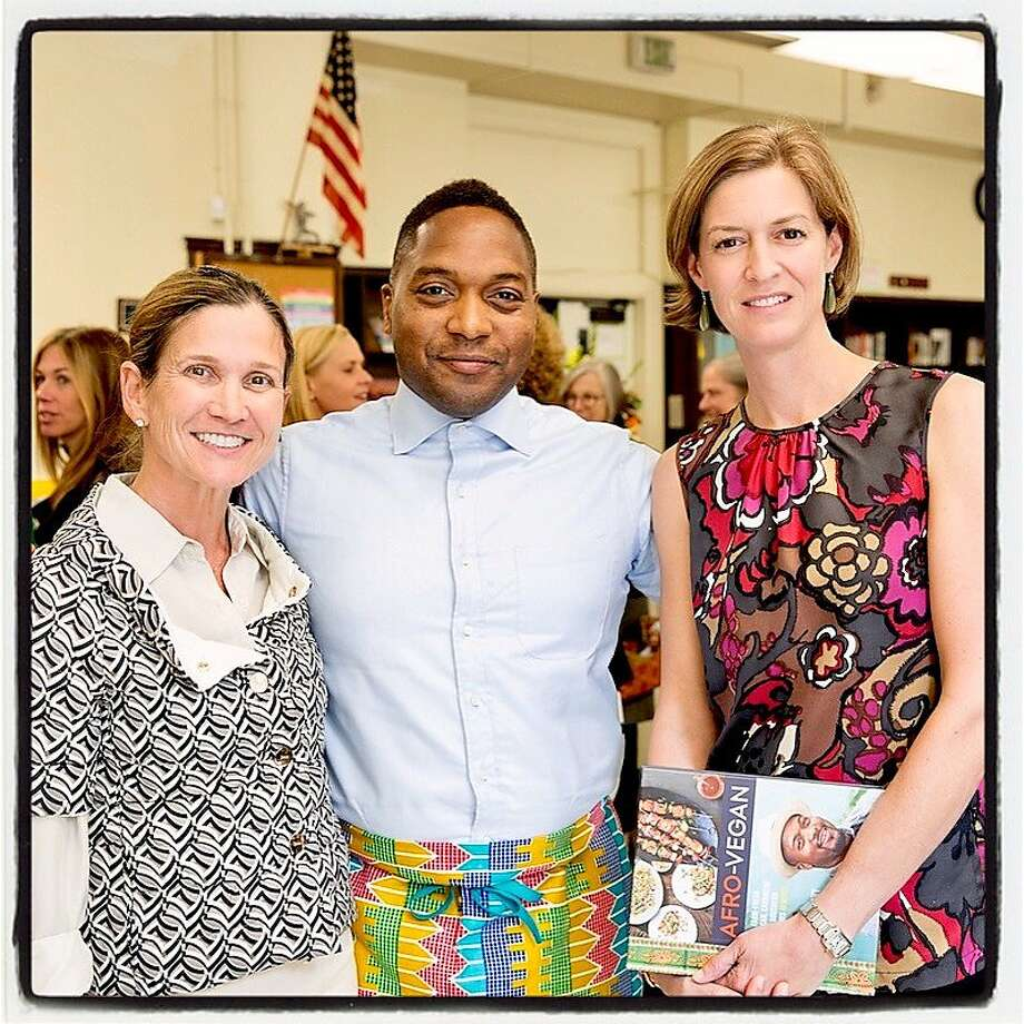 Matters of the Mind co-chair Jennifer Hocking (left), food activist-chef Bryant Terry and co-chair Claire Alt at Gateway Public Schools. Photo: Gateway Public Schools