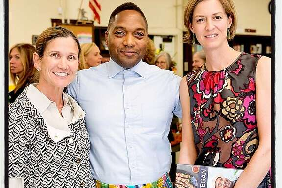 Matters of the Mind co-chair Jennifer Hocking (left) with food activist-chef Bryant Terry and co-chair Claire Alt at Gateway Public Schools. Oct 2016.