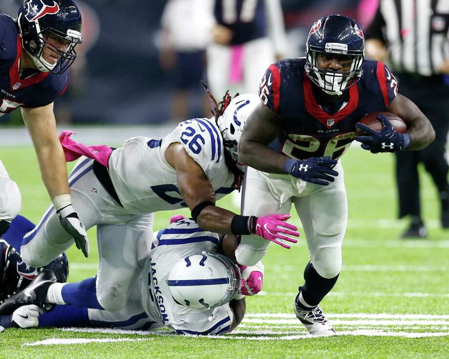 Texans running back Lamar Miller (26) was a force in last week's win over the Colts, rushing for a season-high 149 yards and scoring two touchdowns. Photo: Brett Coomer, Staff / © 2016 Houston Chronicle