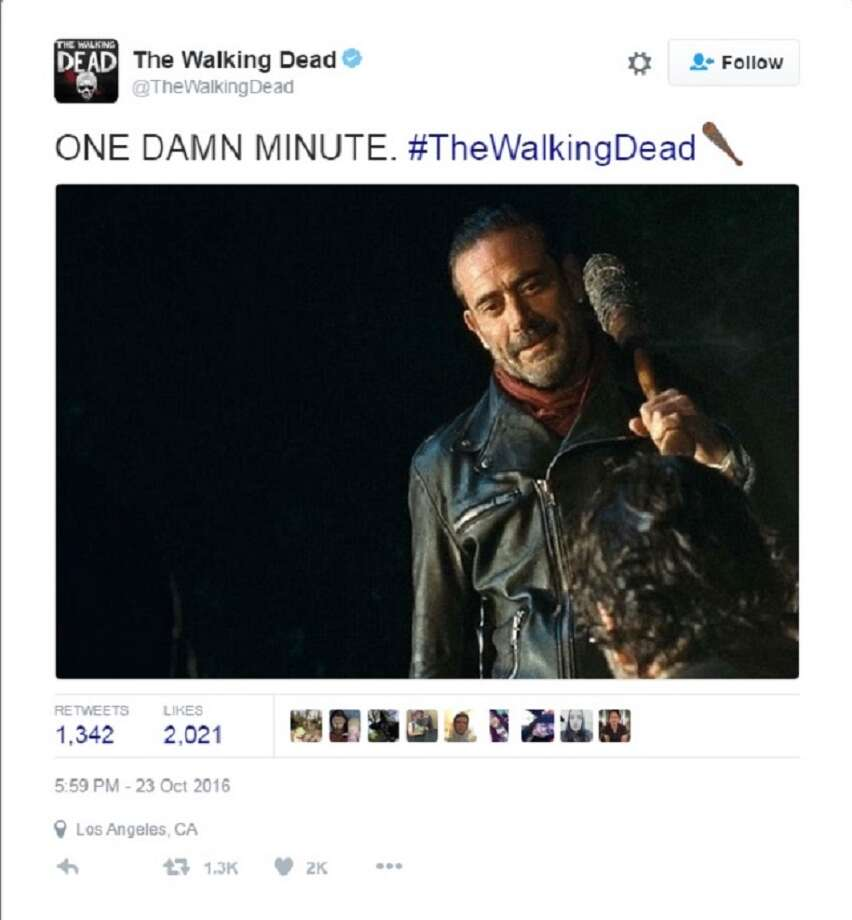 "Reactions to the season premiere of ""The Walking Dead,"" and the reveal of who got a face full of Lucille lit Twitter up like the 4th of July. Photo: Twitter"