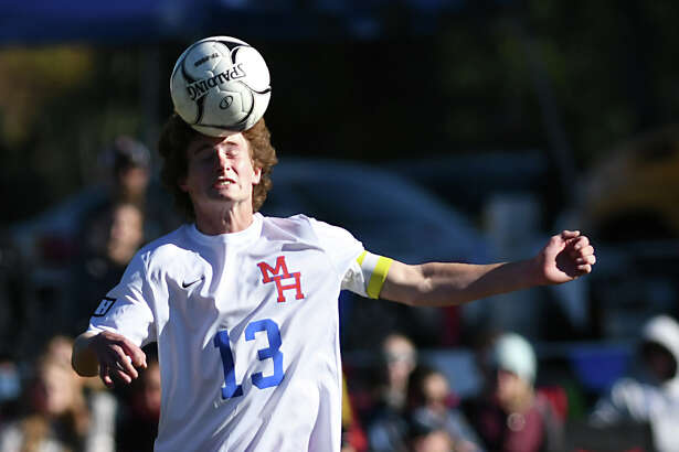 Maple Hill's Bryan Kern heads the ball during a soccer game against Galway on Monday, Oct. 10, 2016 in Castleton-on-Hudson, N.Y. (Lori Van Buren / Times Union)